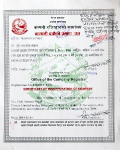 Trek Around Nepal Company Registration Certificate
